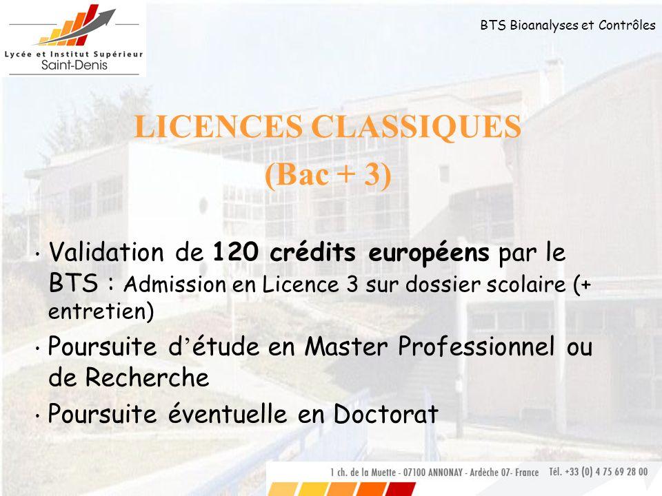 BTS Bioanalyses et Contrôles LICENCES CLASSIQUES (Bac + 3) Validation de 120 crédits européens par le BTS : Admission en Licence 3 sur dossier scolair