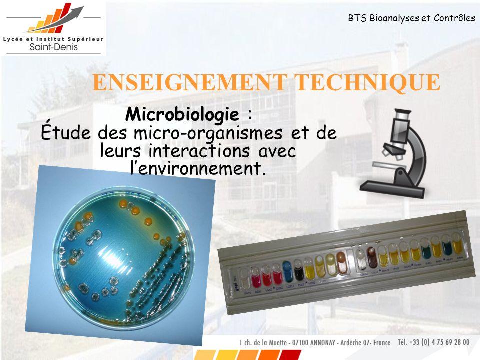 BTS Bioanalyses et Contrôles ENSEIGNEMENT TECHNIQUE Biologie cellulaire et moléculaire : Étude de la structure et de la vie cellulaire