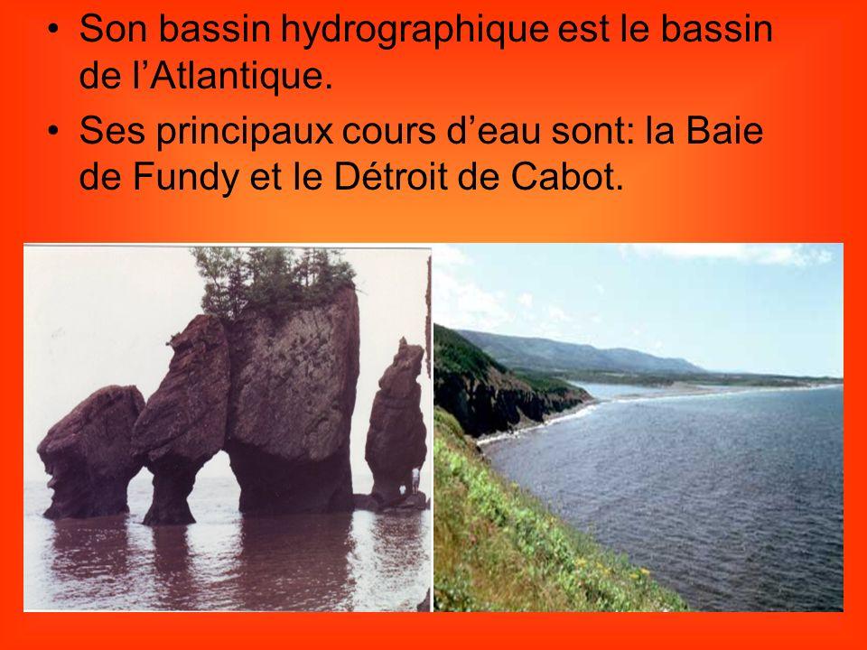 Son bassin hydrographique est le bassin de lAtlantique. Ses principaux cours deau sont: la Baie de Fundy et le Détroit de Cabot.