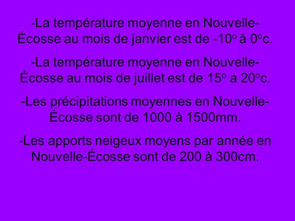 -La température moyenne en Nouvelle- Écosse au mois de janvier est de -10 o à 0 o c. -La température moyenne en Nouvelle- Écosse au mois de juillet es