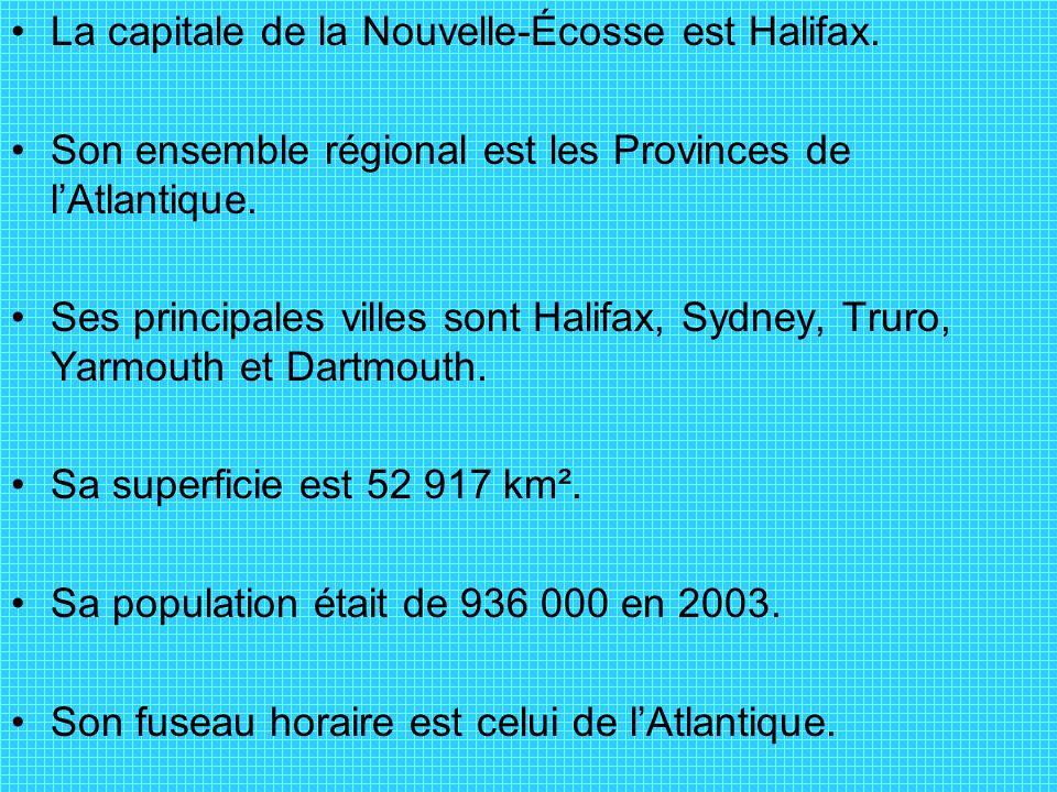 La capitale de la Nouvelle-Écosse est Halifax. Son ensemble régional est les Provinces de lAtlantique. Ses principales villes sont Halifax, Sydney, Tr