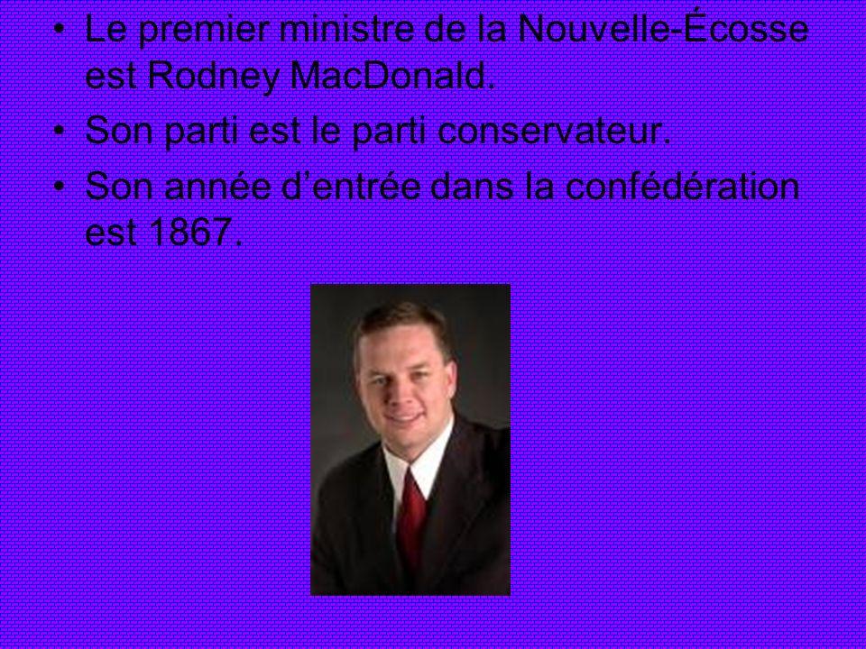 Le premier ministre de la Nouvelle-Écosse est Rodney MacDonald. Son parti est le parti conservateur. Son année dentrée dans la confédération est 1867.