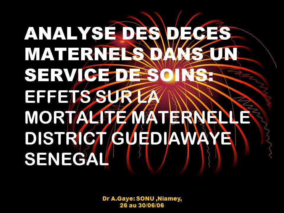 Dr A.Gaye: SONU,Niamey, 26 au 30/06/06 METHODOLOGIE (suite) - Les données organisationnelles: soins obstétricaux durgence (infrastructure, équipement, personnel,médicaments / consommables) la gestion - Critères bonne mise en ouvre: Ressouces disponibles,régulièrement utilisées et judicieusement utilisées