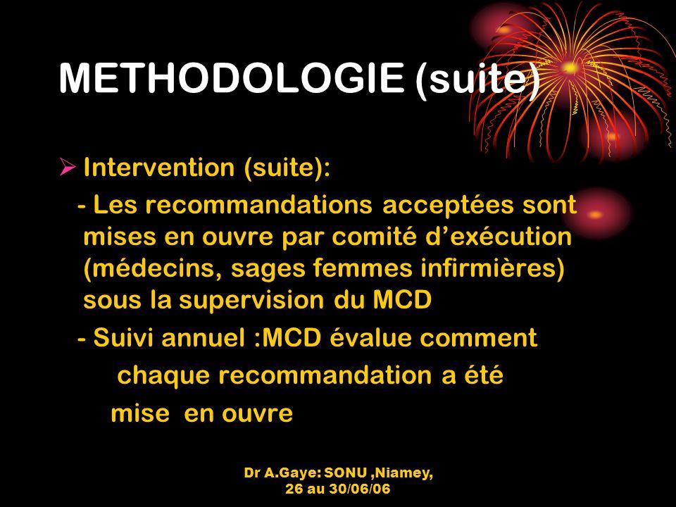 Dr A.Gaye: SONU,Niamey, 26 au 30/06/06 METHODOLOGIE (suite) Intervention (suite): - Les recommandations acceptées sont mises en ouvre par comité dexécution (médecins, sages femmes infirmières) sous la supervision du MCD - Suivi annuel :MCD évalue comment chaque recommandation a été mise en ouvre