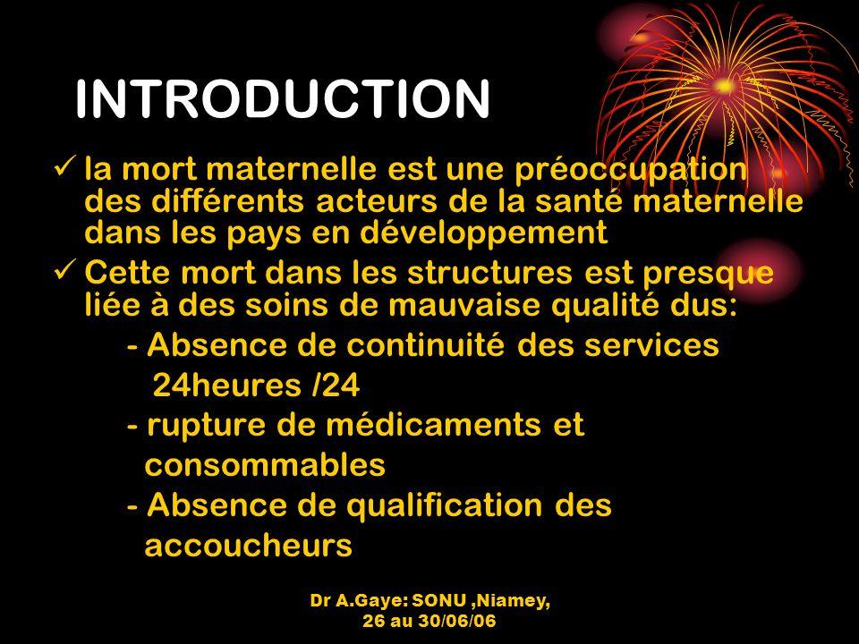 Dr A.Gaye: SONU,Niamey, 26 au 30/06/06 RESULTATS