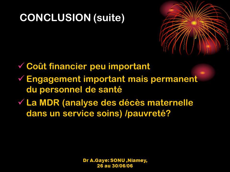 Dr A.Gaye: SONU,Niamey, 26 au 30/06/06 CONCLUSION (suite) Coût financier peu important Engagement important mais permanent du personnel de santé La MDR (analyse des décès maternelle dans un service soins) /pauvreté?