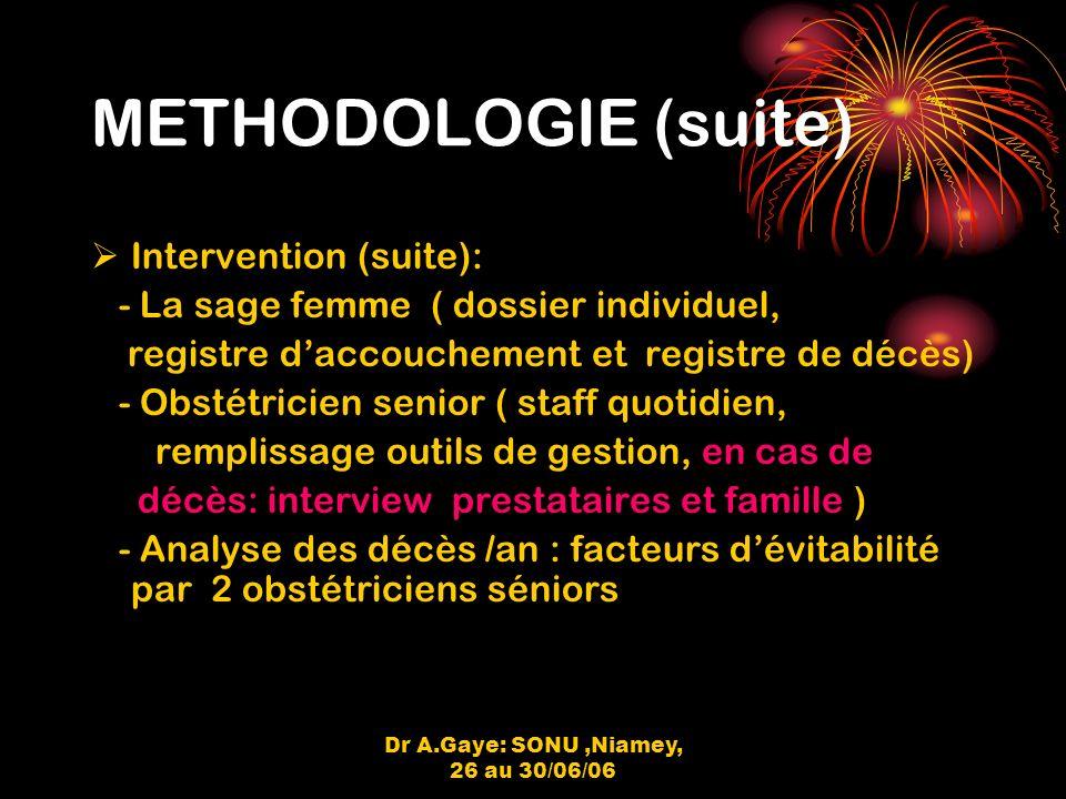 Dr A.Gaye: SONU,Niamey, 26 au 30/06/06 METHODOLOGIE (suite) Intervention (suite): - La sage femme ( dossier individuel, registre daccouchement et registre de décès) - Obstétricien senior ( staff quotidien, remplissage outils de gestion, en cas de décès: interview prestataires et famille ) - Analyse des décès /an : facteurs dévitabilité par 2 obstétriciens séniors