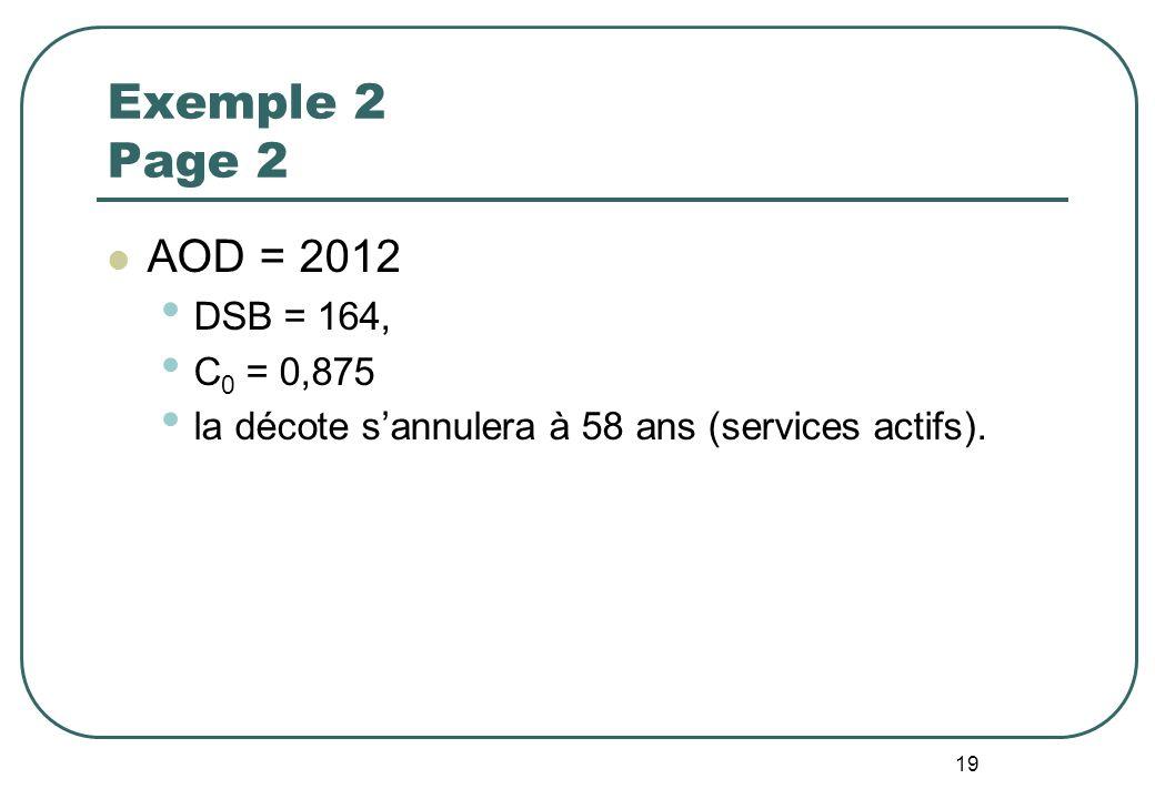 19 Exemple 2 Page 2 AOD = 2012 DSB = 164, C 0 = 0,875 la décote sannulera à 58 ans (services actifs).
