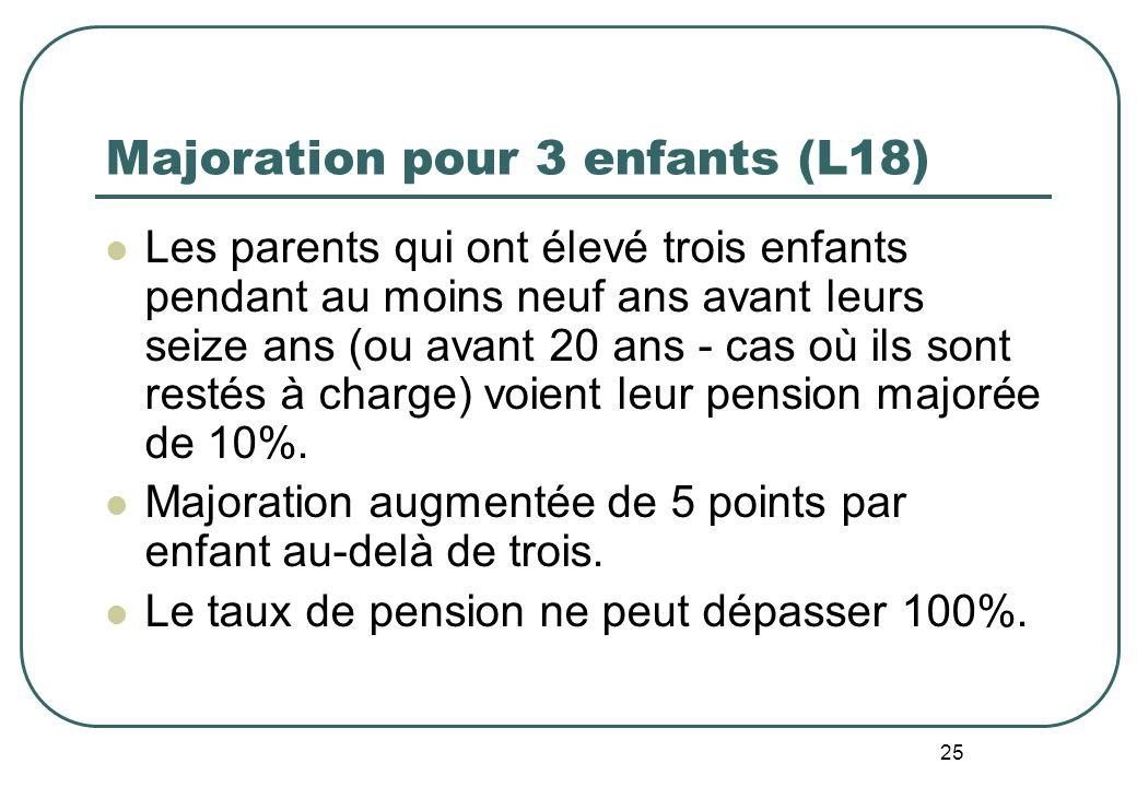 25 Majoration pour 3 enfants (L18) Les parents qui ont élevé trois enfants pendant au moins neuf ans avant leurs seize ans (ou avant 20 ans - cas où ils sont restés à charge) voient leur pension majorée de 10%.