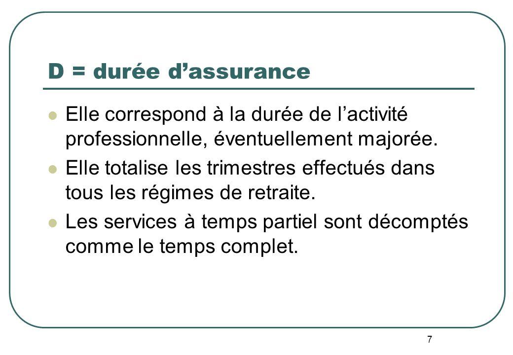 7 D = durée dassurance Elle correspond à la durée de lactivité professionnelle, éventuellement majorée.