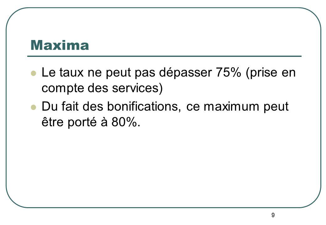 9 Maxima Le taux ne peut pas dépasser 75% (prise en compte des services) Du fait des bonifications, ce maximum peut être porté à 80%.