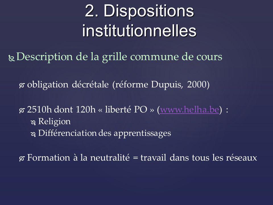 Description de la grille commune de cours obligation décrétale (réforme Dupuis, 2000) 2510h dont 120h « liberté PO » (www.helha.be) :www.helha.be Religion Différenciation des apprentissages Formation à la neutralité = travail dans tous les réseaux 2.