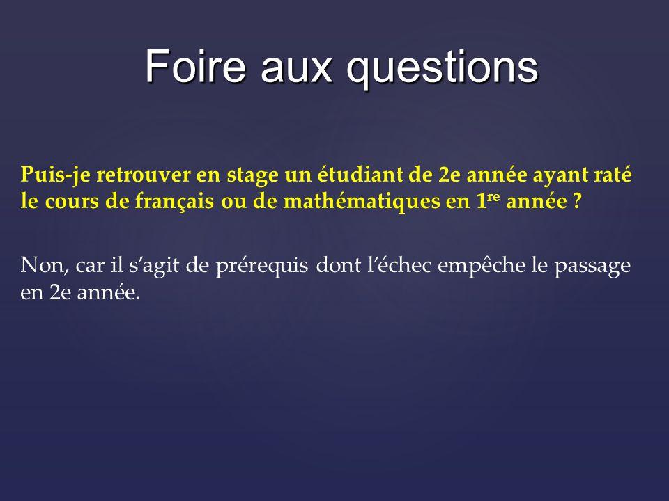 Puis-je retrouver en stage un étudiant de 2e année ayant raté le cours de français ou de mathématiques en 1 re année .