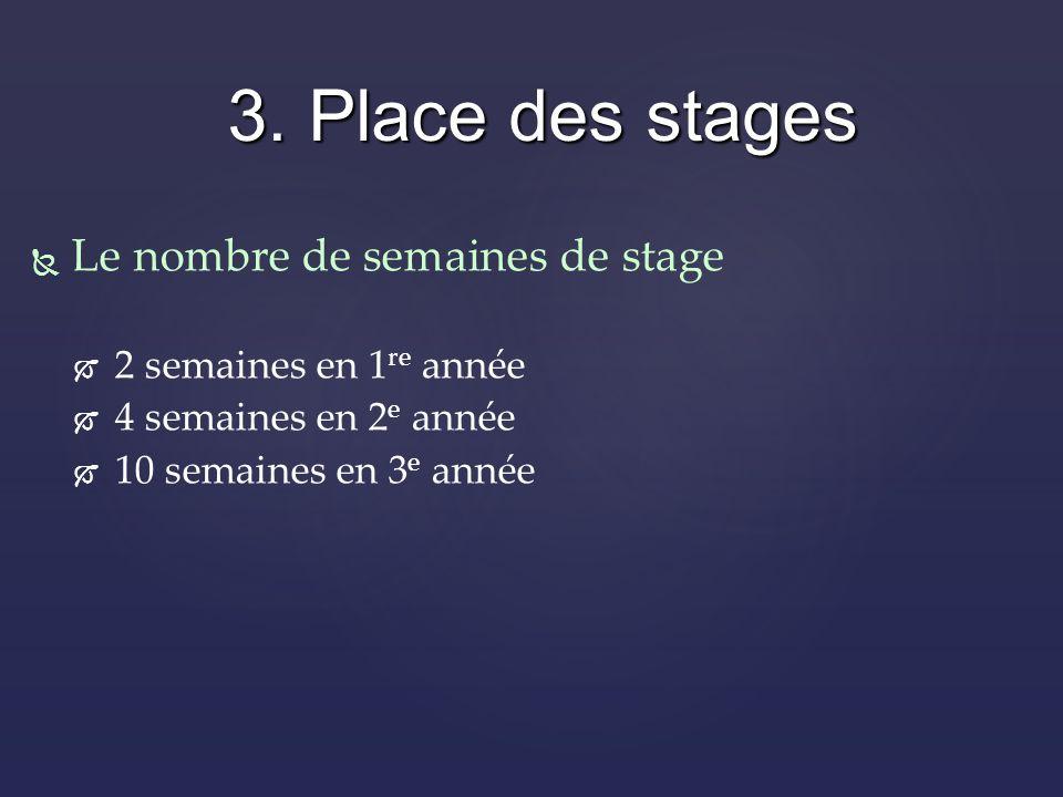 Le nombre de semaines de stage 2 semaines en 1 re année 4 semaines en 2 e année 10 semaines en 3 e année 3.