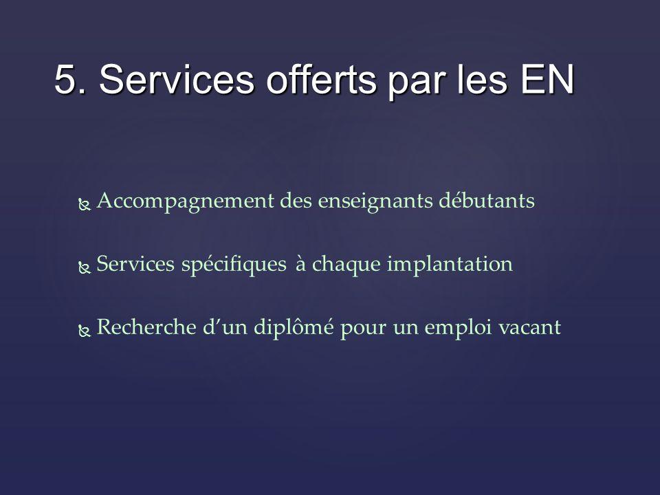 Accompagnement des enseignants débutants Services spécifiques à chaque implantation Recherche dun diplômé pour un emploi vacant 5.
