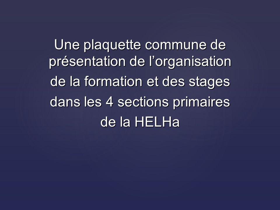 Une plaquette commune de présentation de lorganisation de la formation et des stages dans les 4 sections primaires de la HELHa
