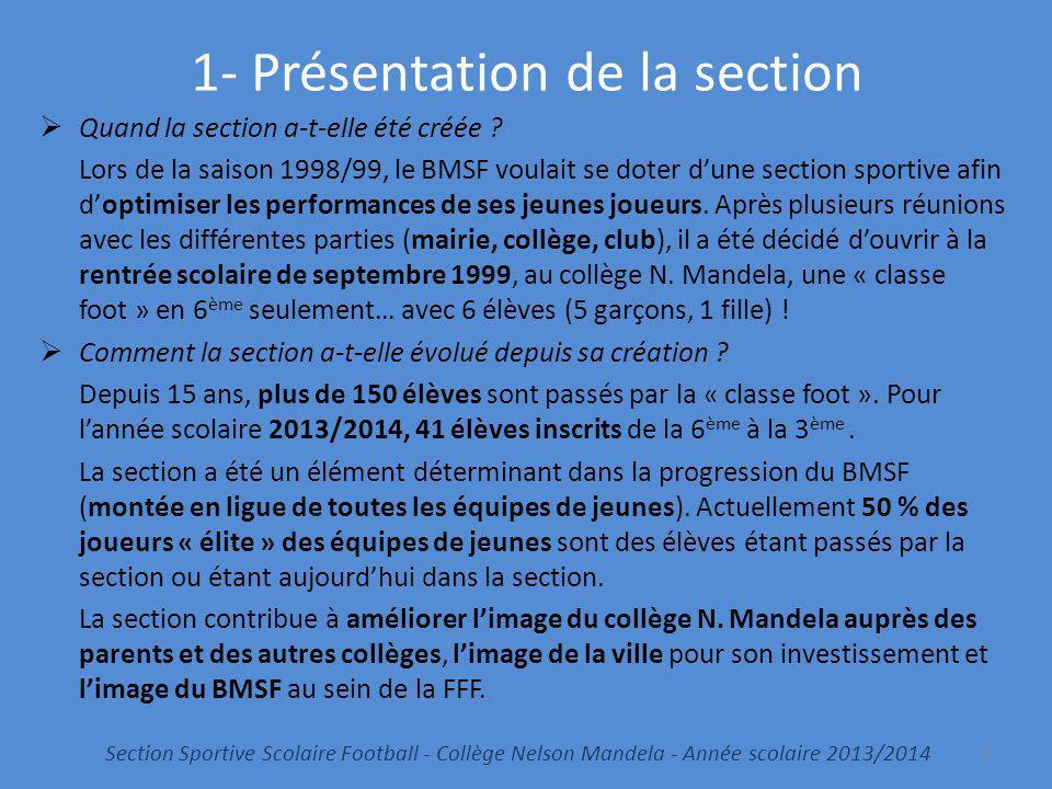 1- Présentation de la section Quand la section a-t-elle été créée ? Lors de la saison 1998/99, le BMSF voulait se doter dune section sportive afin dop