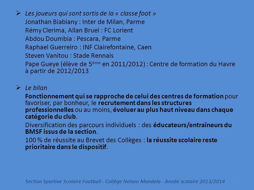 Les joueurs qui sont sortis de la « classe foot » Jonathan Biabiany : Inter de Milan, Parme Rémy Clerima, Allan Bruel : FC Lorient Abdou Doumbia : Pes