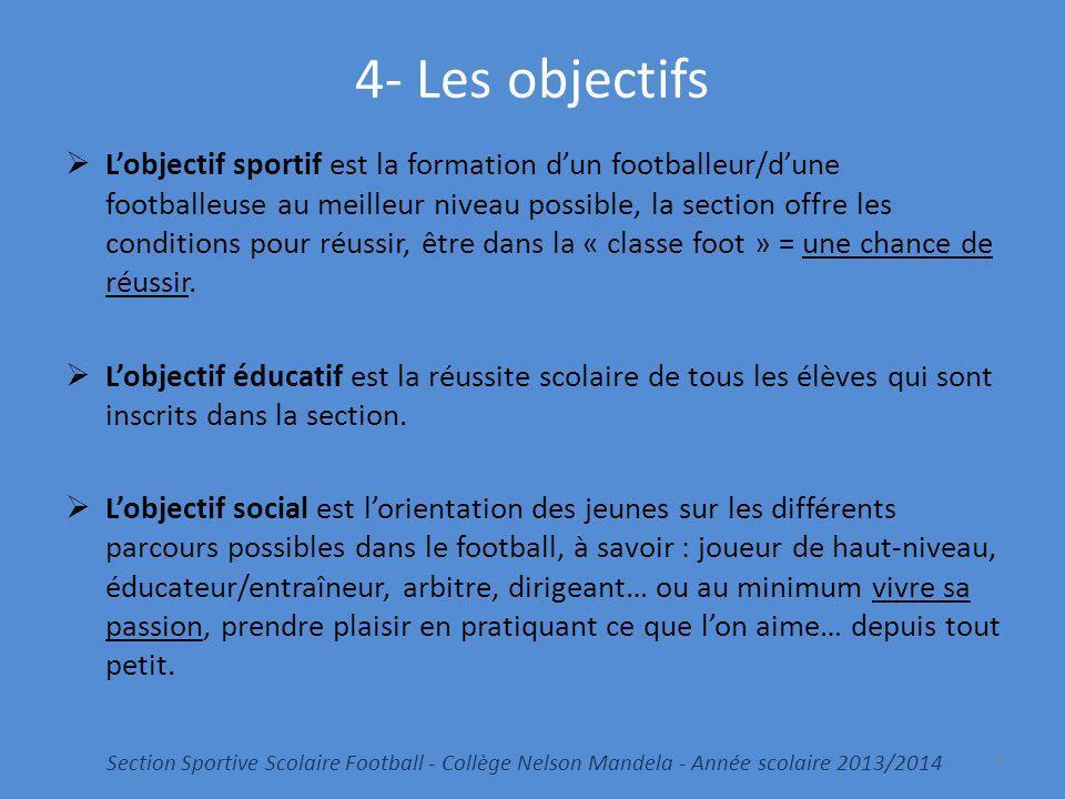 4- Les objectifs Lobjectif sportif est la formation dun footballeur/dune footballeuse au meilleur niveau possible, la section offre les conditions pou