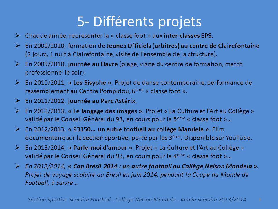 5- Différents projets Chaque année, représenter la « classe foot » aux inter-classes EPS. En 2009/2010, formation de Jeunes Officiels (arbitres) au ce