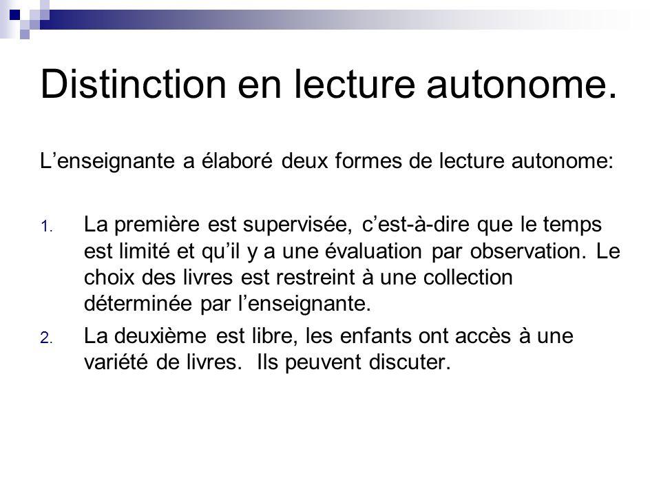 Distinction en lecture autonome.Lenseignante a élaboré deux formes de lecture autonome: 1.