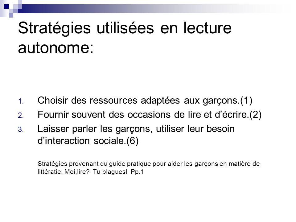 Stratégies utilisées en lecture autonome: 1.Choisir des ressources adaptées aux garçons.(1) 2.