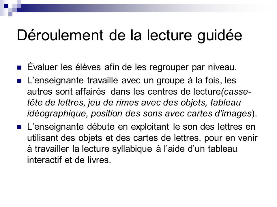 Lecture guidée: Selon le guide denseignement efficace de la lecture.