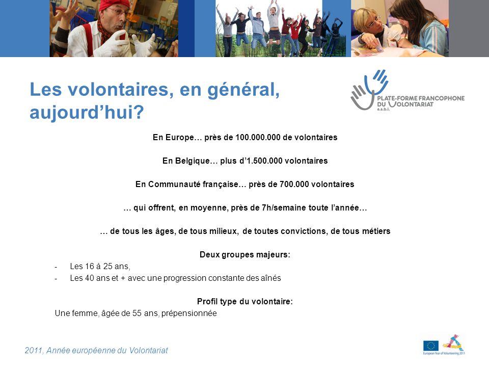 2011, Année européenne du Volontariat Les volontaires, en général, aujourdhui.