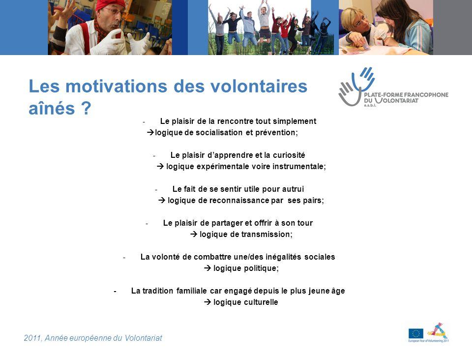 2011, Année européenne du Volontariat Les motivations des volontaires aînés .