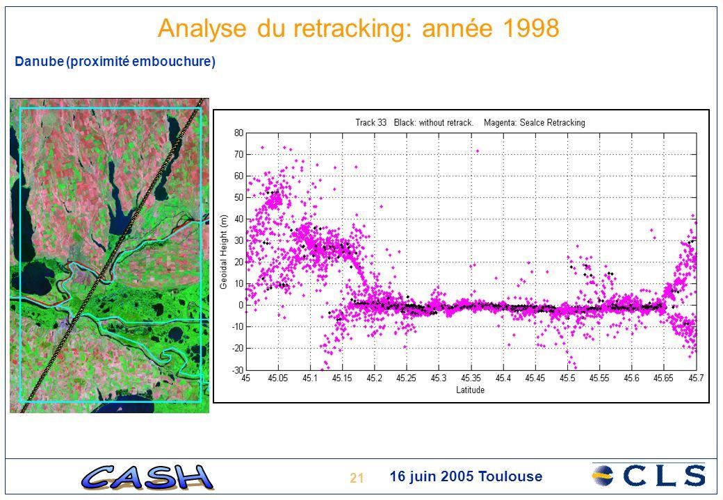 21 16 juin 2005 Toulouse Analyse du retracking: année 1998 Danube (proximité embouchure)