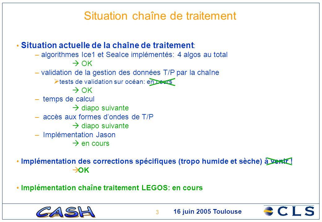 4 16 juin 2005 Toulouse Situation chaîne de traitement Situation actuelle de la chaîne de traitement : – temps de calcul Traitement global: 15mn par ½ orbite (SUN) environ 1000 jours de calcul pour 400 cycles .