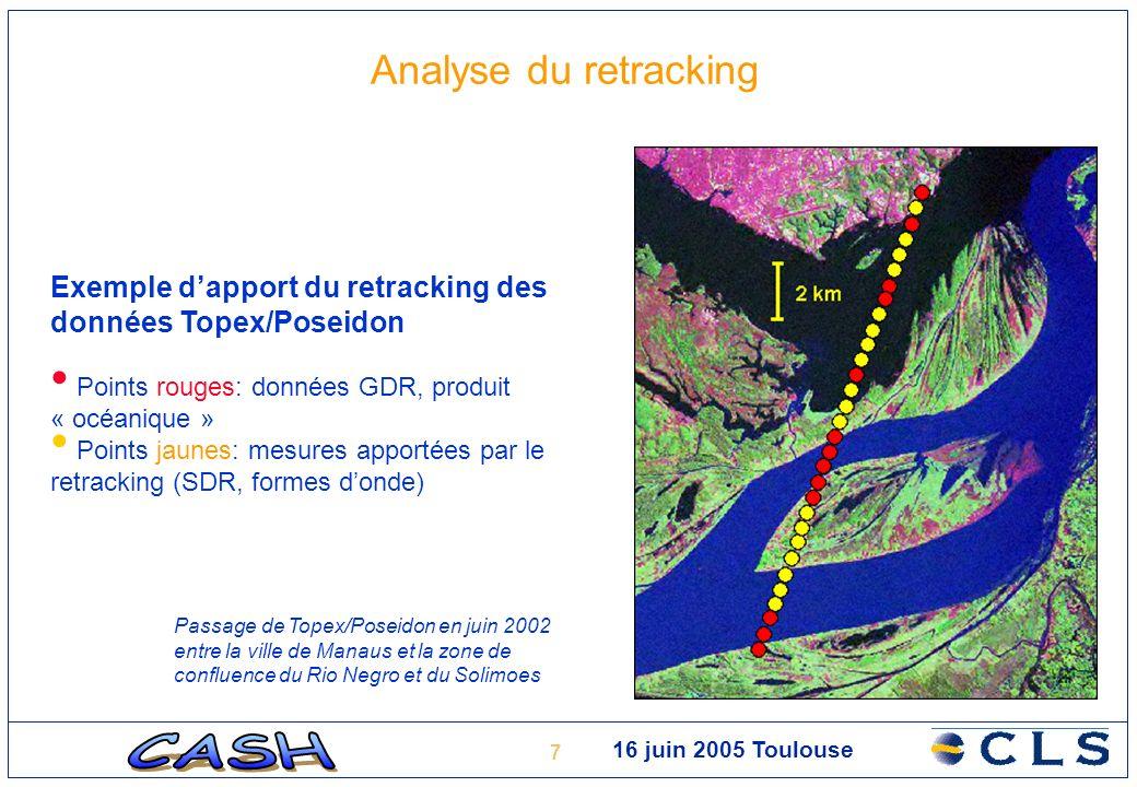 7 Analyse du retracking Exemple dapport du retracking des données Topex/Poseidon Points rouges: données GDR, produit « océanique » Points jaunes: mesu