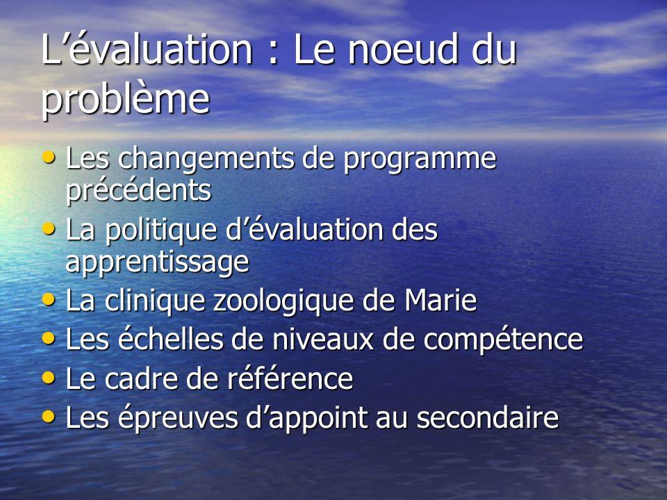 Lévaluation : Le noeud du problème Les changements de programme précédents Les changements de programme précédents La politique dévaluation des appren