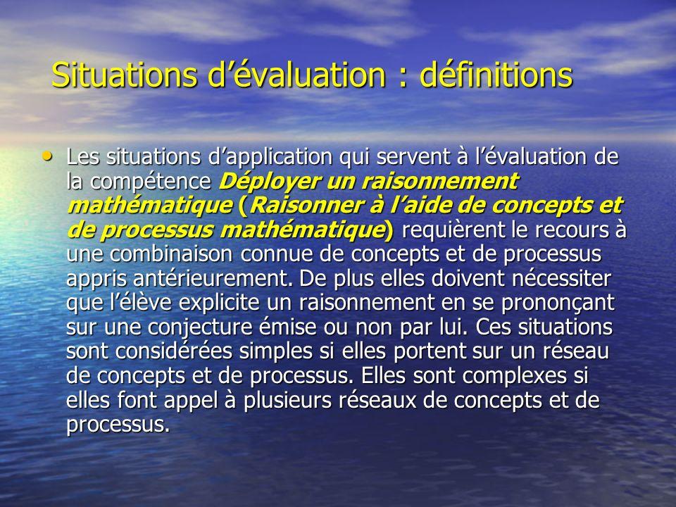 Situations dévaluation : définitions Situations dévaluation : définitions Les situations dapplication qui servent à lévaluation de la compétence Déplo