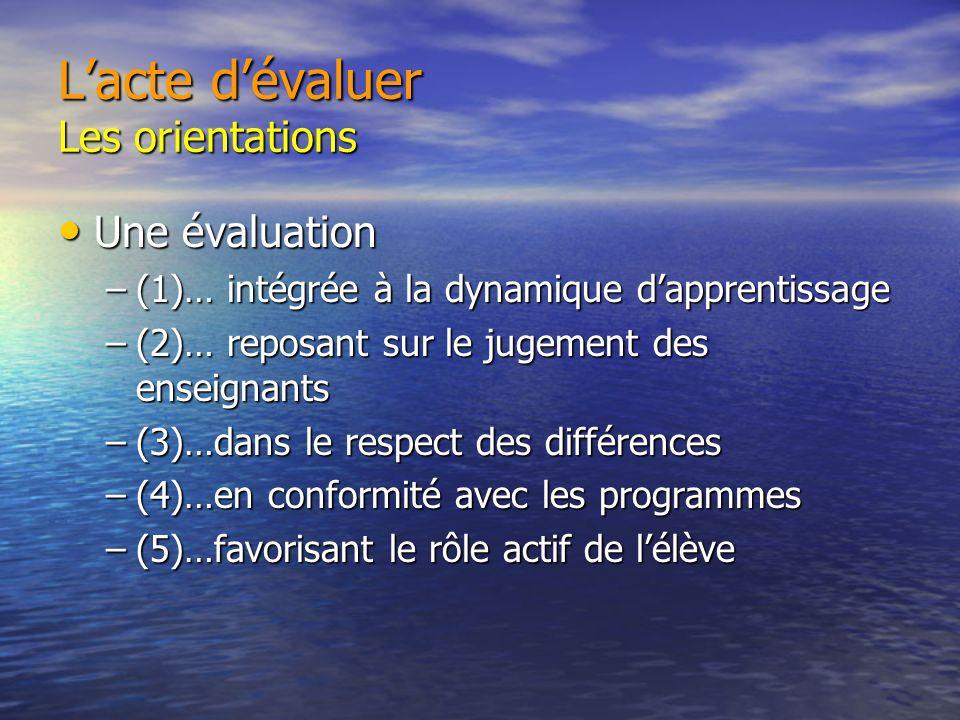 Lacte dévaluer Les orientations Une évaluation Une évaluation –(1)… intégrée à la dynamique dapprentissage –(2)… reposant sur le jugement des enseignants –(3)…dans le respect des différences –(4)…en conformité avec les programmes –(5)…favorisant le rôle actif de lélève
