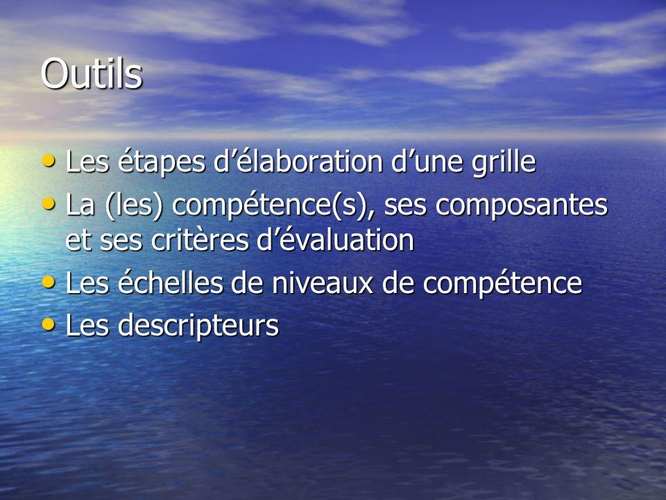 Outils Les étapes délaboration dune grille Les étapes délaboration dune grille La (les) compétence(s), ses composantes et ses critères dévaluation La (les) compétence(s), ses composantes et ses critères dévaluation Les échelles de niveaux de compétence Les échelles de niveaux de compétence Les descripteurs Les descripteurs