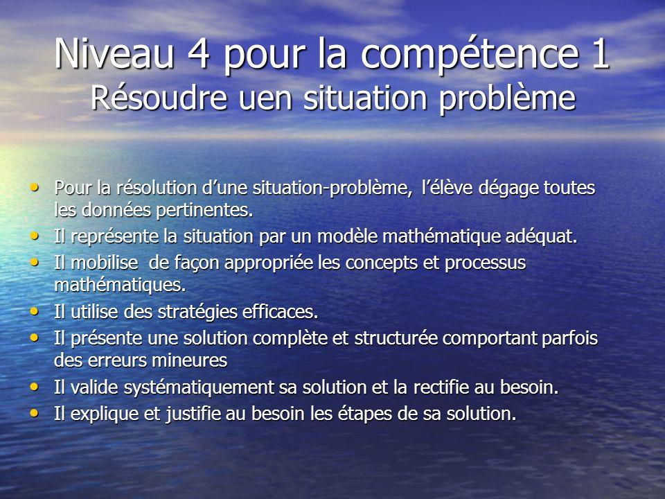 Niveau 4 pour la compétence 1 Résoudre uen situation problème Pour la résolution dune situation-problème, lélève dégage toutes les données pertinentes.