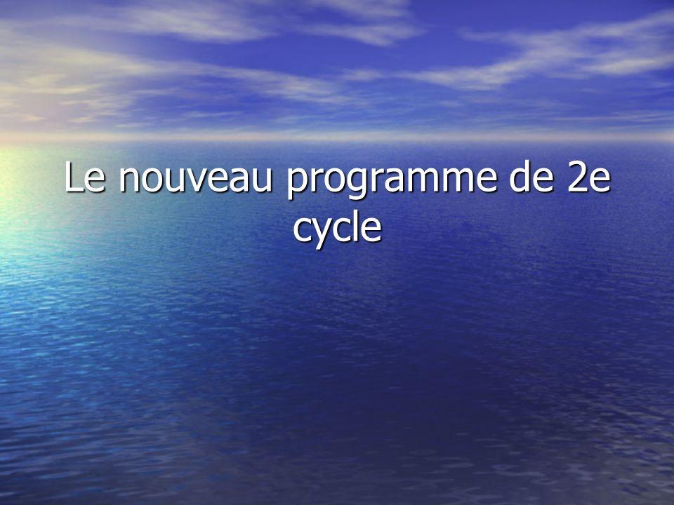Le nouveau programme de 2e cycle