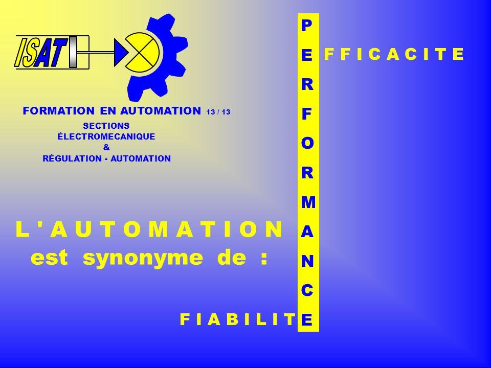 F I A B I L I T FORMATION EN AUTOMATION 13 / SECTIONS ÉLECTROMECANIQUE & RÉGULATION - AUTOMATION L A U T O M A T I O N est synonyme de : F F I C A C I T E P E R F O R M A N C E