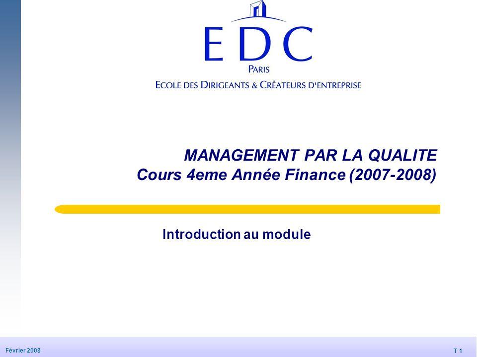 T 1 Février 2008 MANAGEMENT PAR LA QUALITE Cours 4eme Année Finance (2007-2008) Introduction au module