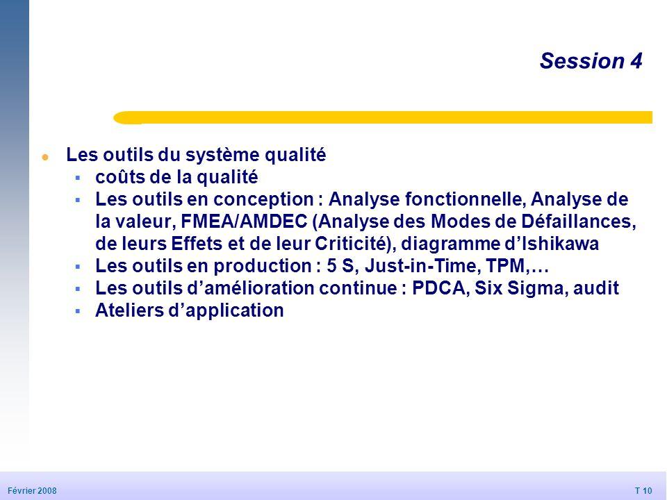 T 10 20/09/2006 T 10 Février 2008 © Dédale 2007 Session 4 l Les outils du système qualité coûts de la qualité Les outils en conception : Analyse fonct