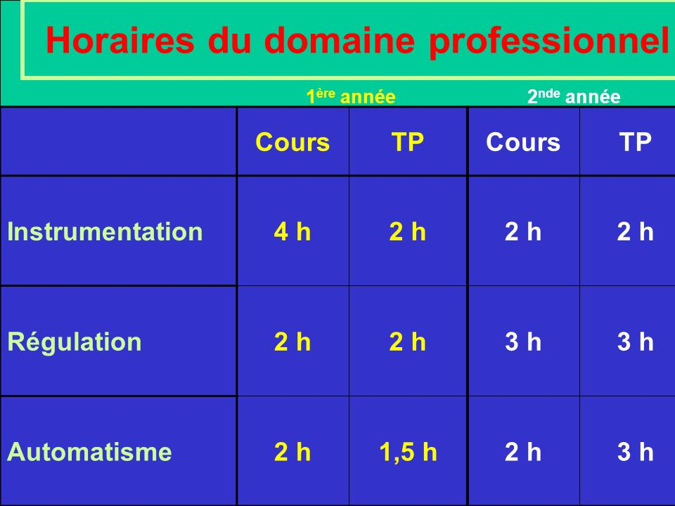 Horaires du domaine professionnel CoursTPCoursTP Instrumentation4 h2 h Régulation2 h 3 h Automatisme2 h1,5 h2 h3 h 1 ère année 2 nde année