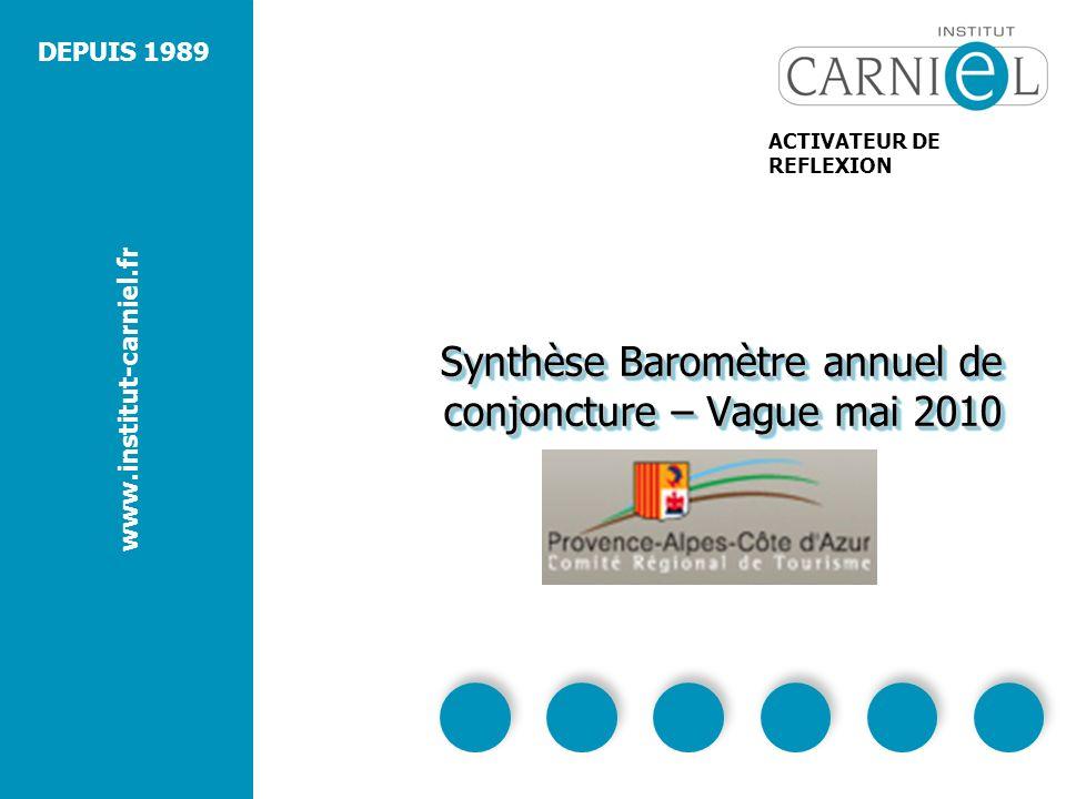 DEPUIS 1989 www.institut-carniel.fr ACTIVATEUR DE REFLEXION Synthèse Baromètre annuel de conjoncture – Vague mai 2010