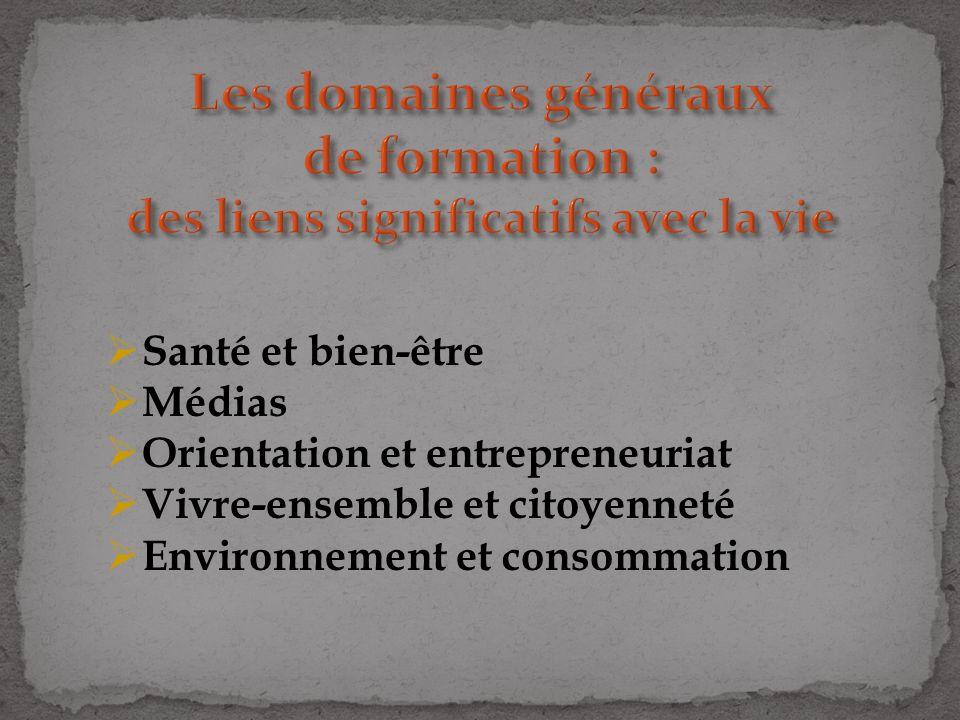 Santé et bien-être Médias Orientation et entrepreneuriat Vivre-ensemble et citoyenneté Environnement et consommation