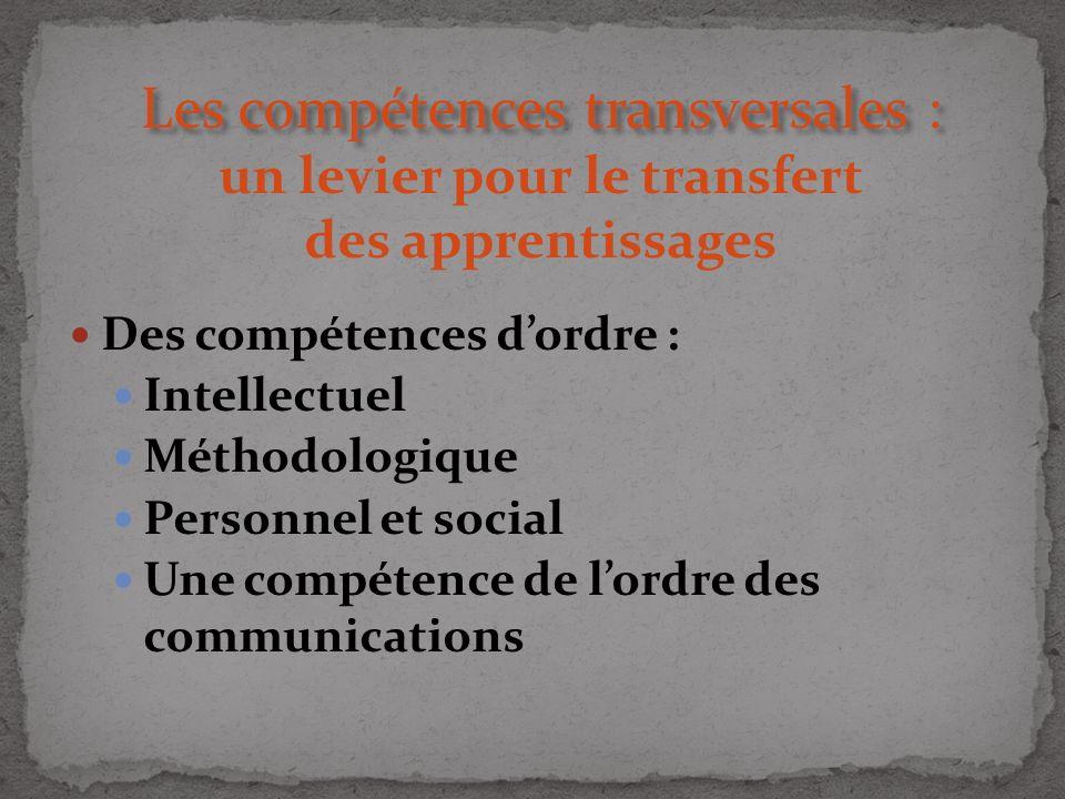 Les compétences transversales : Les compétences transversales : un levier pour le transfert des apprentissages Des compétences dordre : Intellectuel M