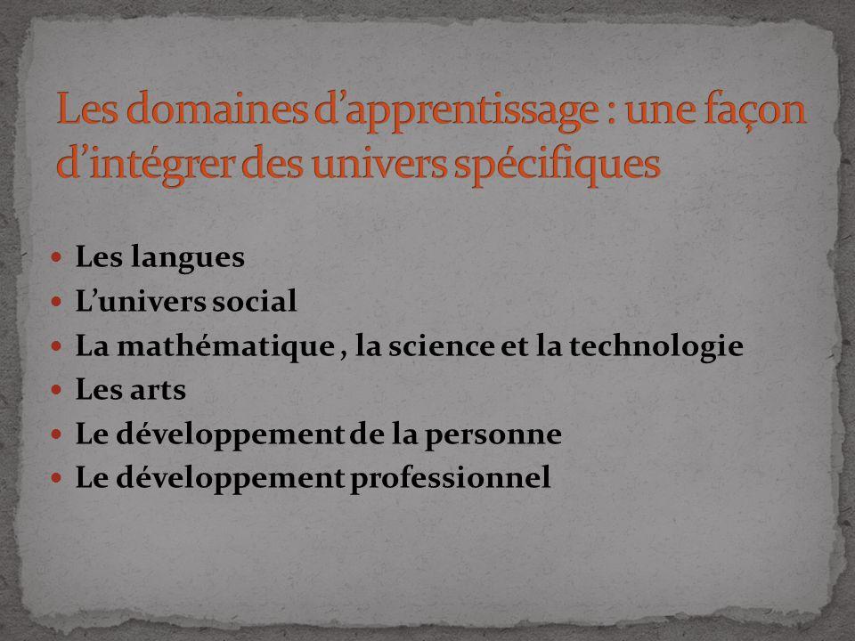 Les langues Lunivers social La mathématique, la science et la technologie Les arts Le développement de la personne Le développement professionnel