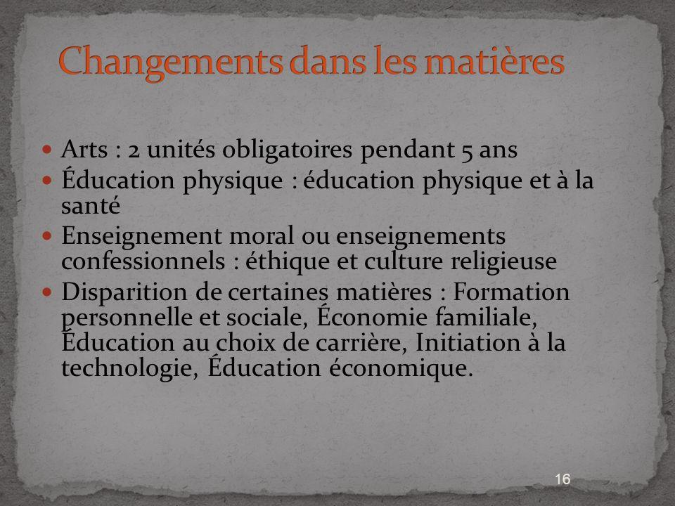 16 Arts : 2 unités obligatoires pendant 5 ans Éducation physique : éducation physique et à la santé Enseignement moral ou enseignements confessionnels
