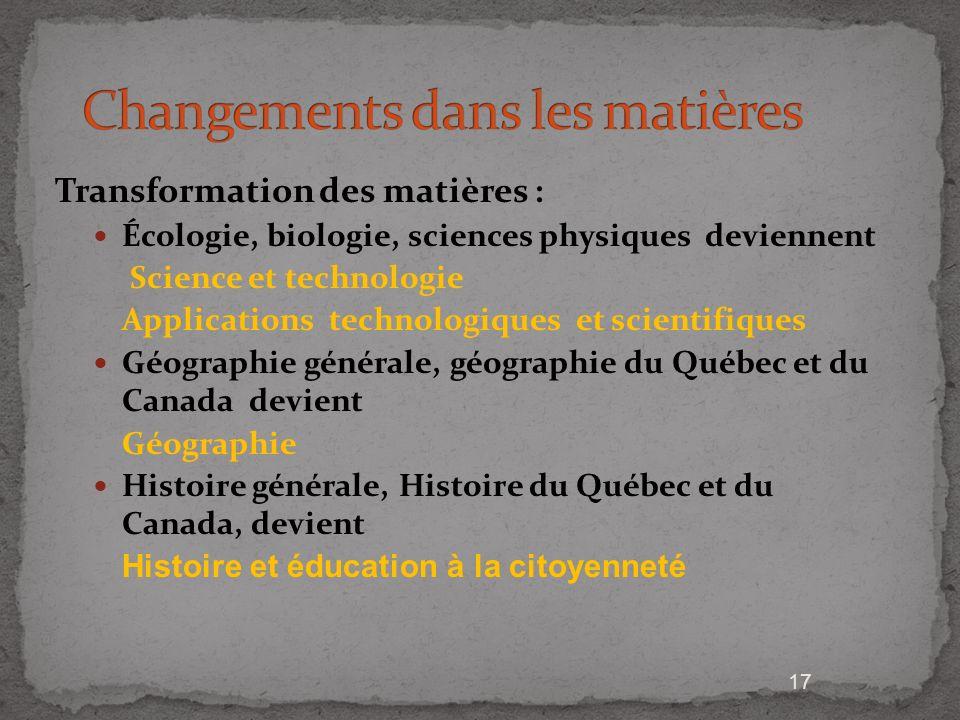 17 Transformation des matières : Écologie, biologie, sciences physiques deviennent Science et technologie Applications technologiques et scientifiques