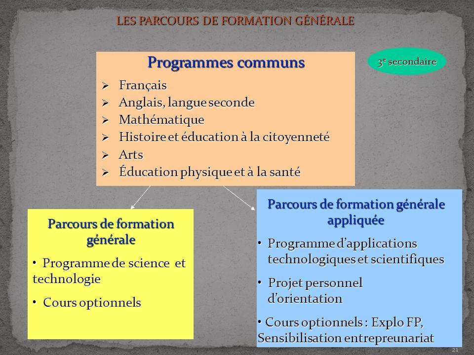 21 Programmes communs Français Français Anglais, langue seconde Anglais, langue seconde Mathématique Mathématique Histoire et éducation à la citoyenne