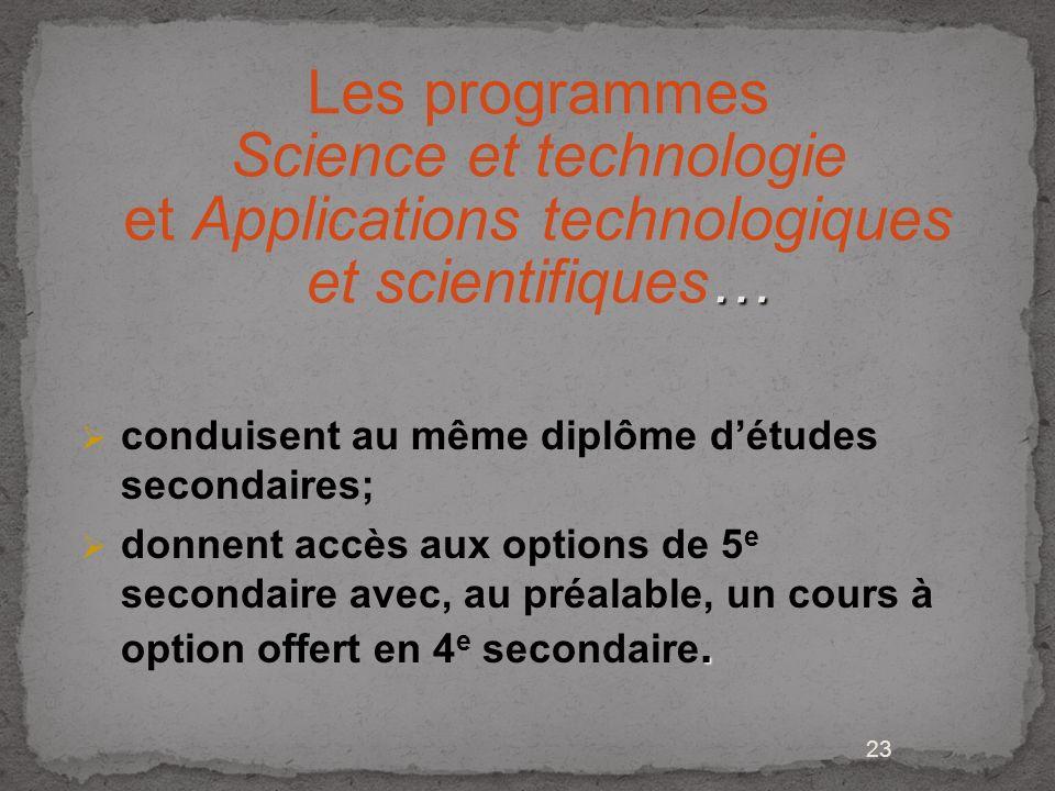 23 … Les programmes Science et technologie et Applications technologiques et scientifiques… conduisent au même diplôme détudes secondaires;. donnent a